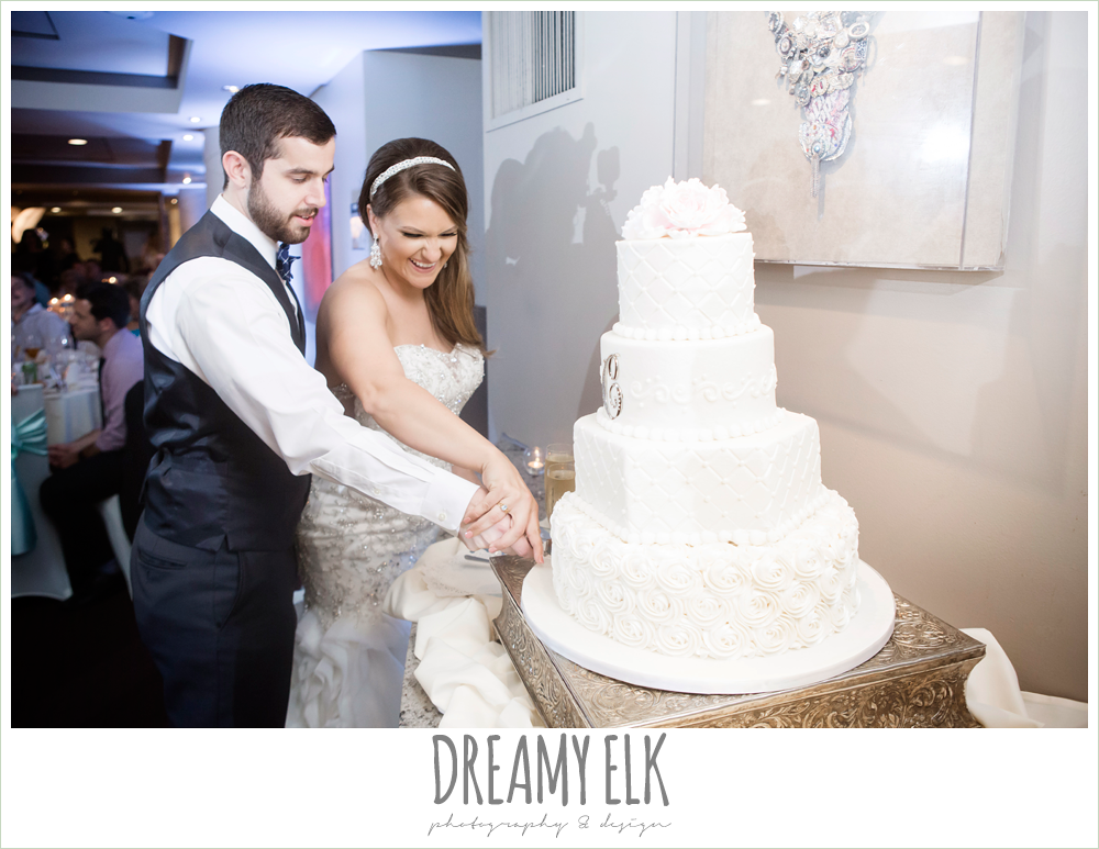 bride and groom cutting the cake, spring wedding, magnolia hotel, houston, texas {dreamy elk photography and design}