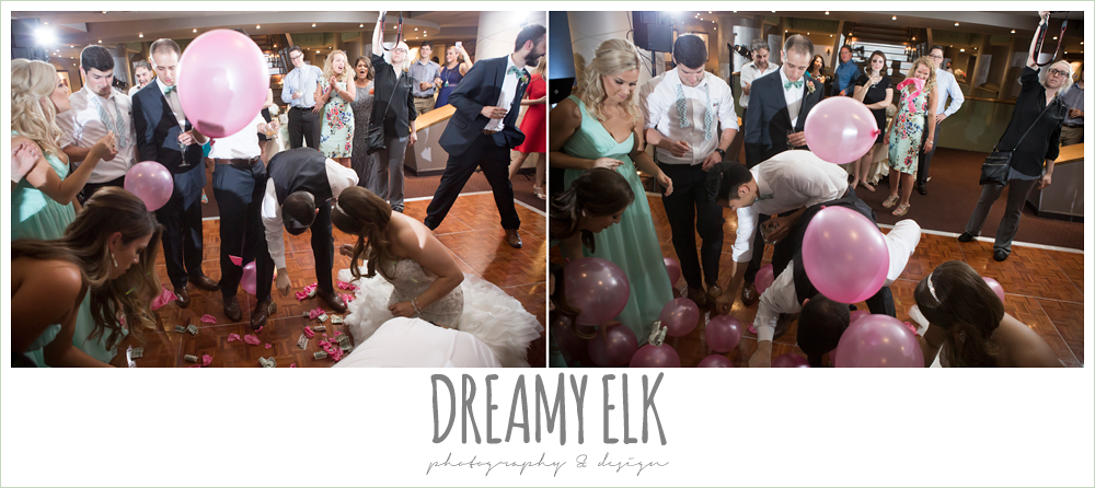 balloon pop at wedding reception, alternative to money dance, spring wedding, magnolia hotel, houston, texas {dreamy elk photography and design}