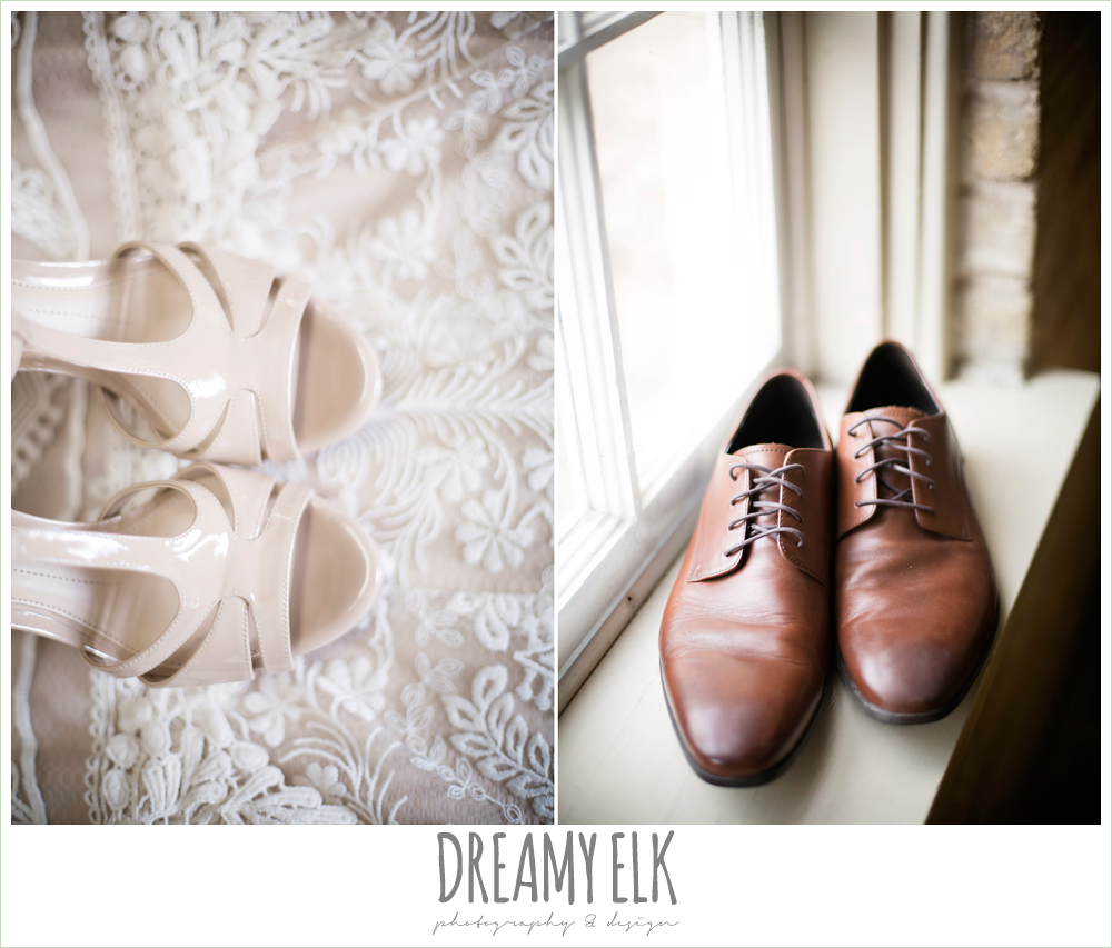 nude wedding shoes, ivory bhldn wedding dress, groom's brown dress shoes, spring wedding, austin, texas {dreamy elk photography and design}