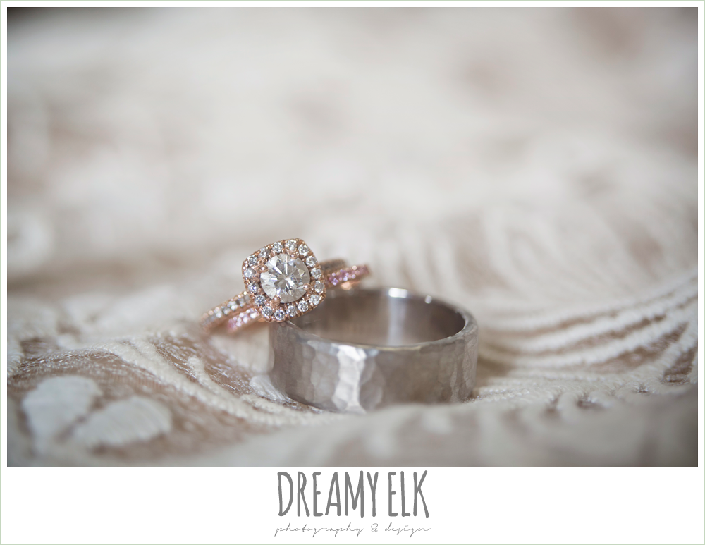 rosegold engagement ring with halo, pink diamond wedding band, silver men's wedding band, spring wedding, austin, texas {dreamy elk photography and design}