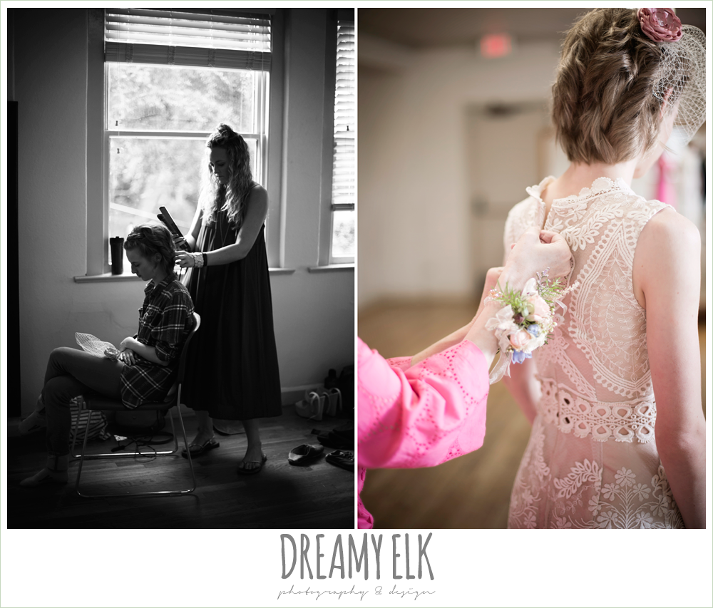 bride getting hair done, buttoning up wedding dress, spring wedding, austin, texas {dreamy elk photography and design}