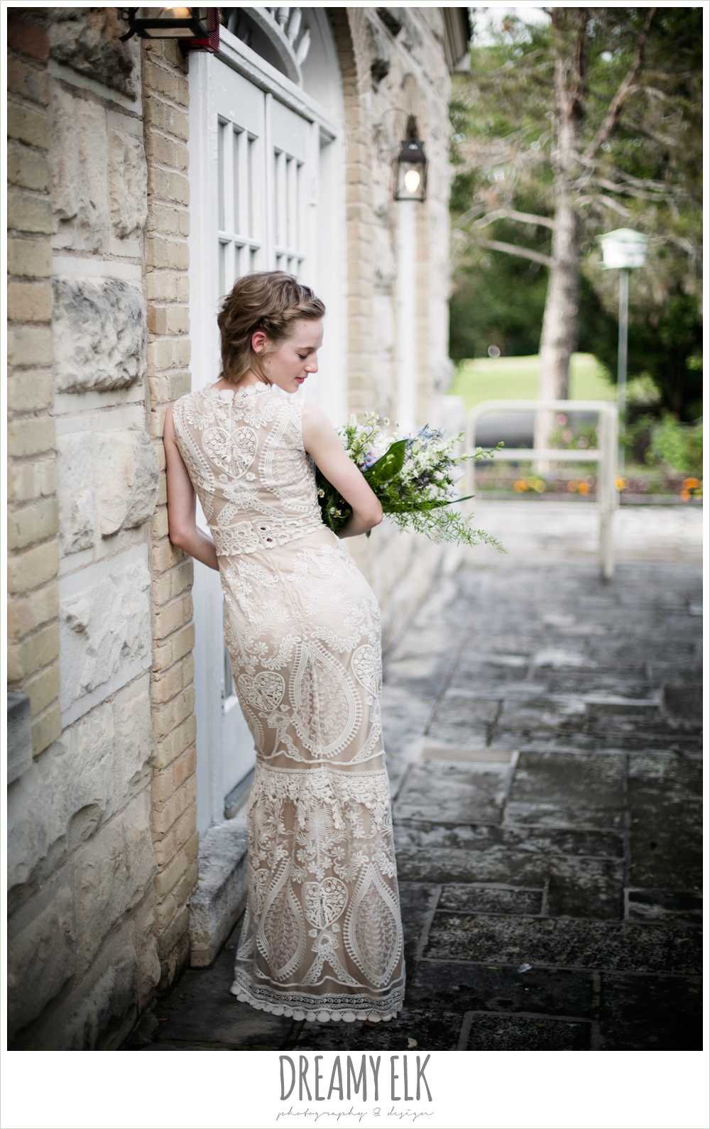 ivory bhldn wedding dress, wedding hair short, spring wedding, austin, texas {dreamy elk photography and design}