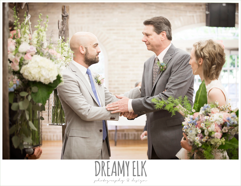 indoor wedding ceremony, dad passing bride off to groom, spring wedding, austin, texas {dreamy elk photography and design}