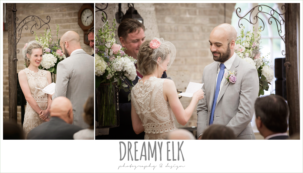indoor wedding ceremony, bride and groom reading vows, spring wedding, austin, texas {dreamy elk photography and design}