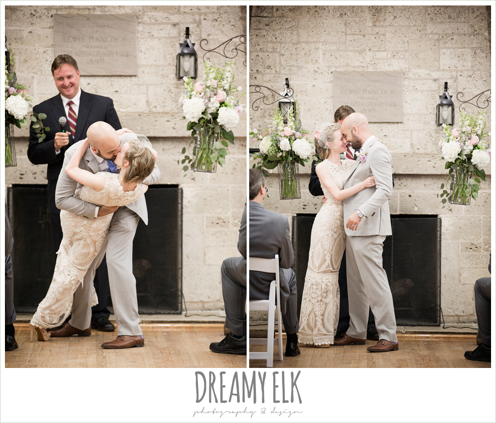groom dipping bride, first kiss, spring wedding, austin, texas {dreamy elk photography and design}