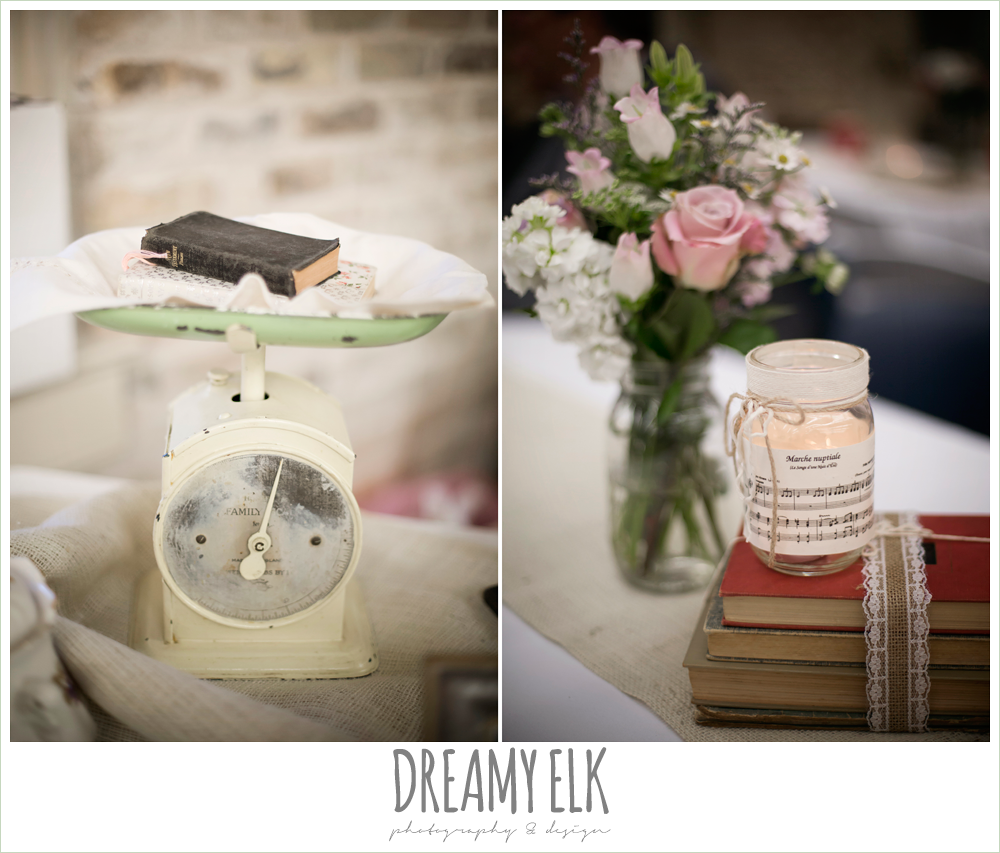 reception decor, pink blue and purple reception flowers, mason jar candles, music lyrics, old books, tea cups, gift table, spring wedding, hancock community center hyde park, austin, texas {dreamy elk photography and design}