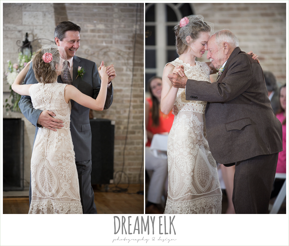 bride dancing with dad and grandfather, spring wedding, hancock community center hyde park, austin, texas {dreamy elk photography and design}