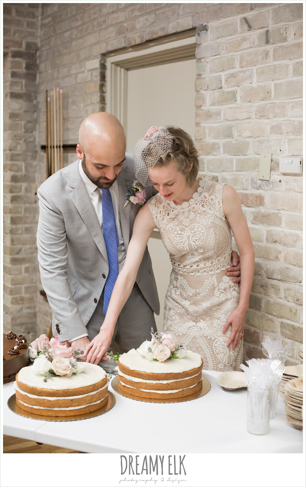 bride and groom cutting the cake, spring wedding, hancock community center hyde park, austin, texas {dreamy elk photography and design}