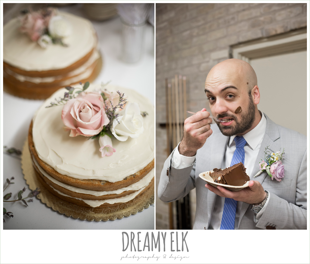 naked cake with flower cake topper, icing on groom's face, spring wedding, hancock community center hyde park, austin, texas {dreamy elk photography and design}