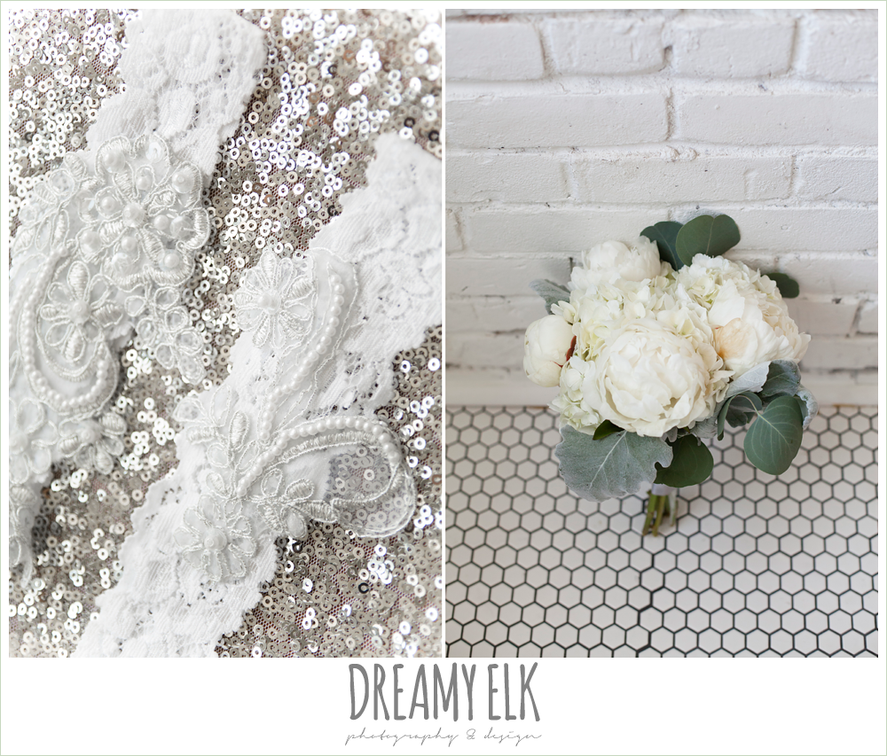 silver sequin table cloth, lace garters, white wedding bouquet, one eleven east, silver sequin wedding, invitation suite, fourth of july wedding photo {dreamy elk photography and design}