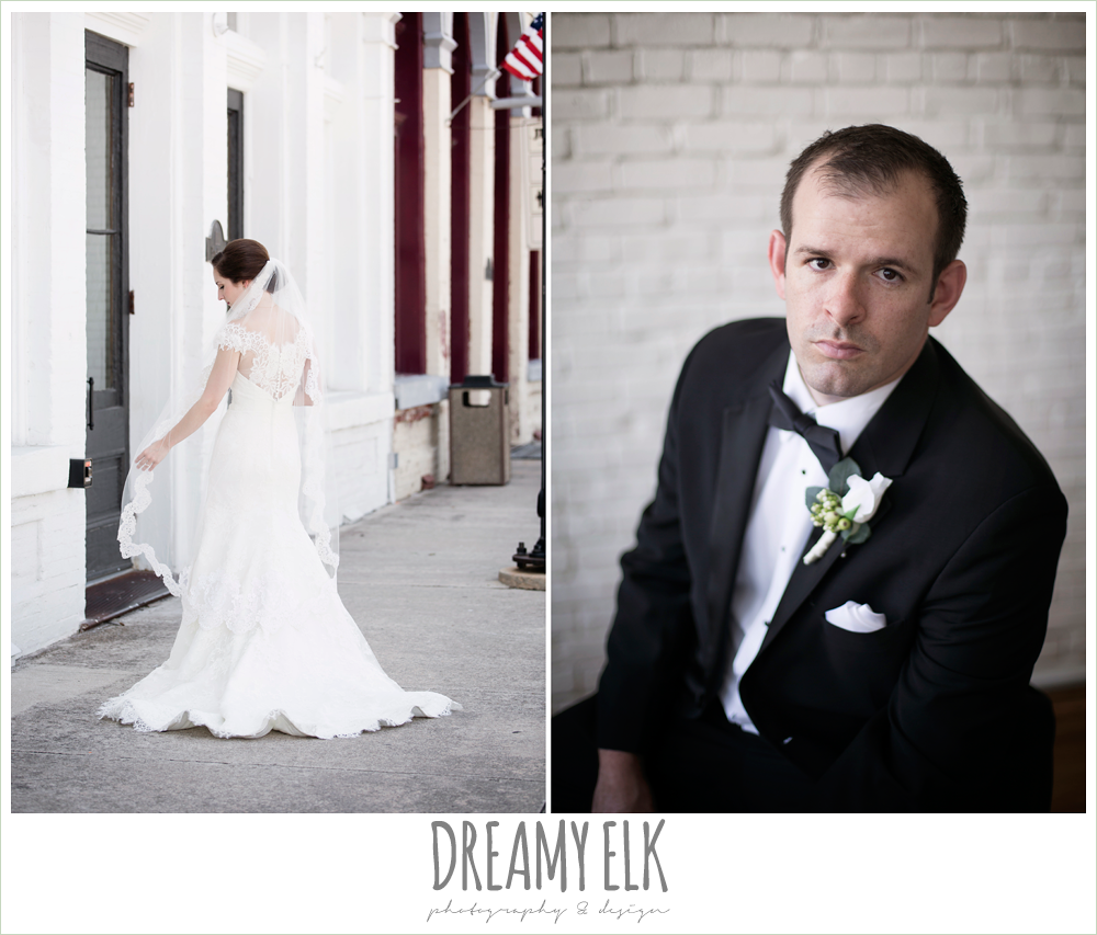 groom, classic tuxedo, white boutonniere, bride, lace wedding dress, lace trimmed veil, groom in tuxedo, one eleven east, silver sequin wedding, fourth of july wedding photo {dreamy elk photography and design}