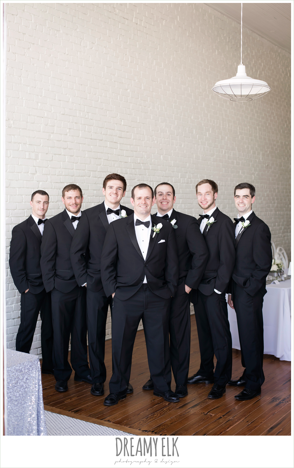 groom and groomsmen, classic tuxedo, white boutonniere, one eleven east, silver sequin wedding, invitation suite, fourth of july wedding photo {dreamy elk photography and design}