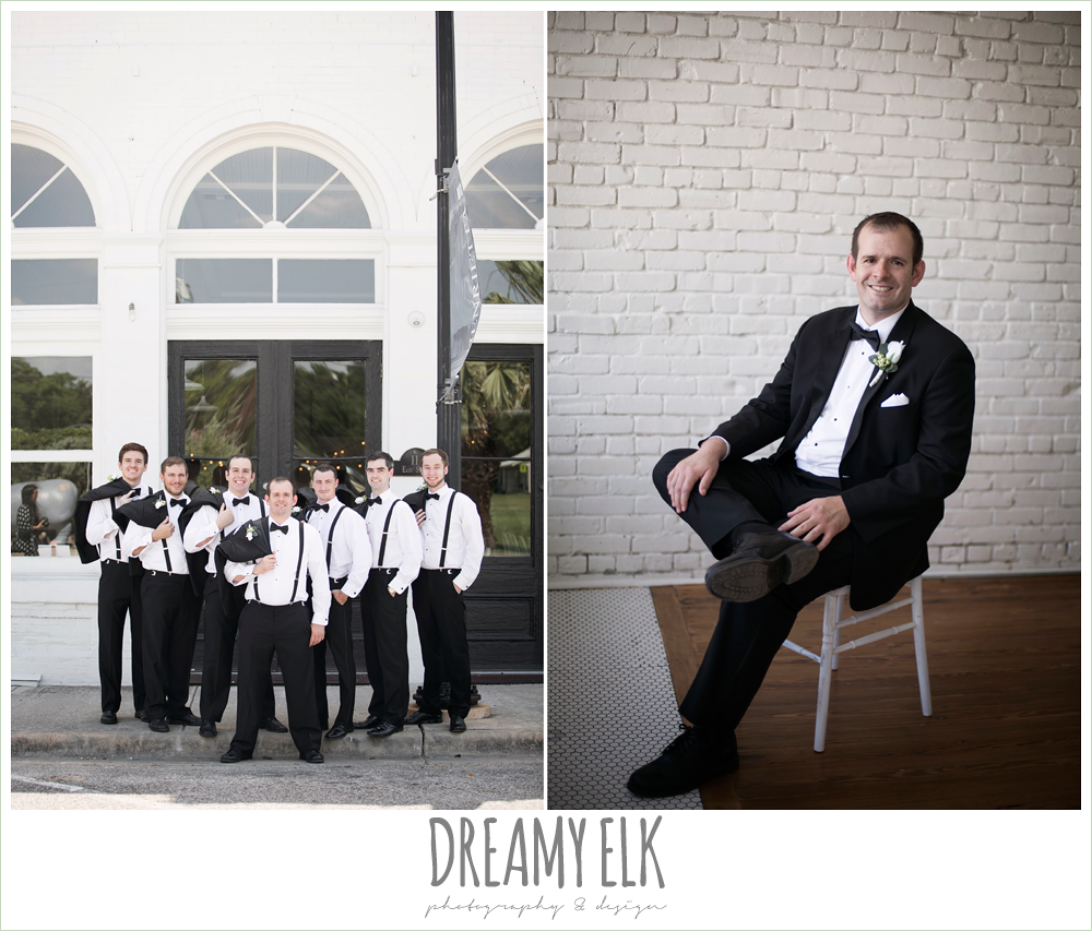groom and groomsmen, classic tuxedo, white boutonniere, one eleven east, silver sequin wedding, fourth of july wedding photo {dreamy elk photography and design}