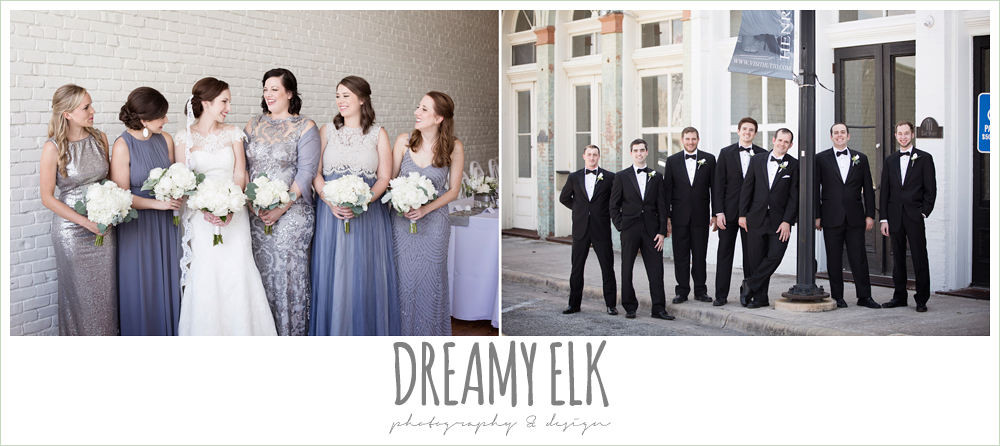 bridesmaids, mix and match silver gray blue dresses, groom and groomsmen, classic tuxedo, white boutonniere, bride, lace wedding dress with lace sleeves, lace trimmed veil, one eleven east, silver sequin wedding, fourth of july wedding photo {dreamy elk photography and design}