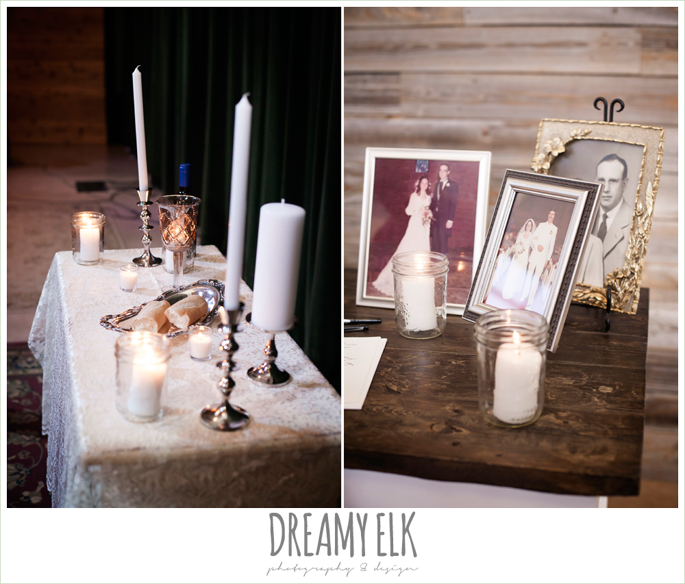 indoor wedding ceremony decor, heritage table, family wedding photos, unity candle, one eleven east, silver sequin wedding, fourth of july wedding photo {dreamy elk photography and design}
