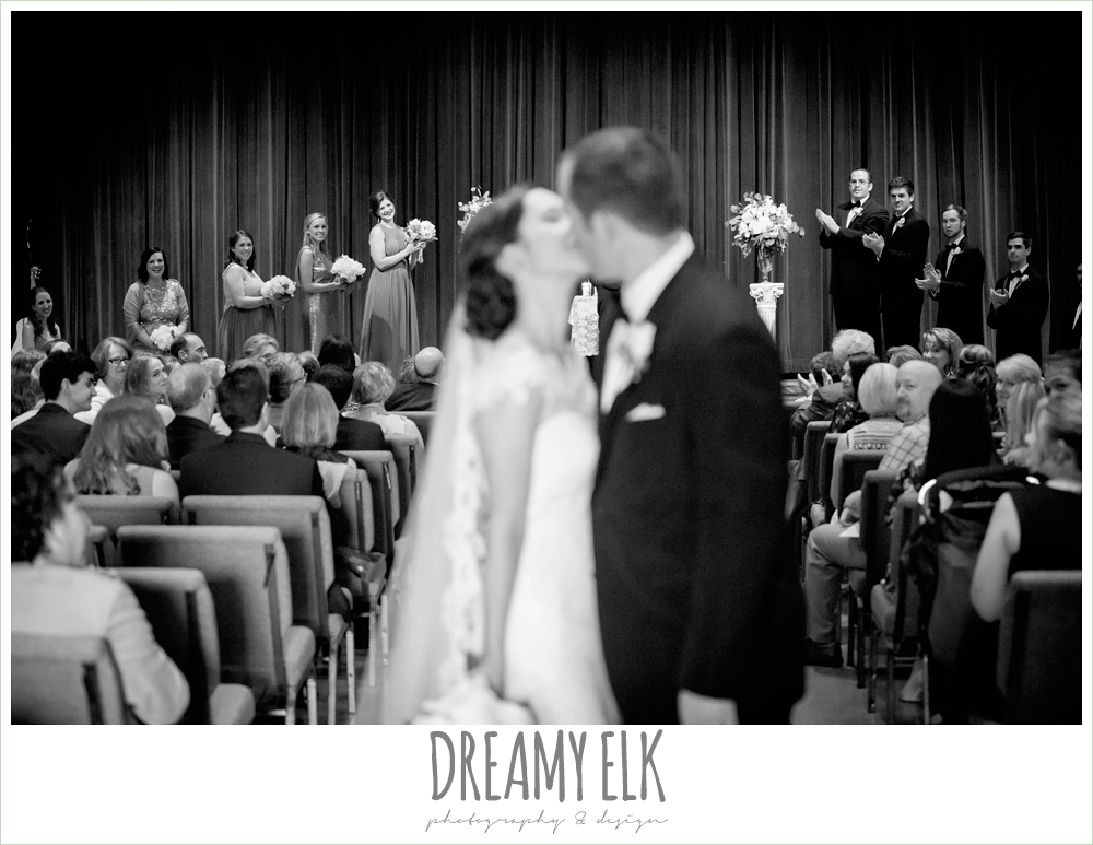 bride and groom kissing, indoor wedding ceremony, silver sequin wedding, fourth of july wedding photo {dreamy elk photography and design}f