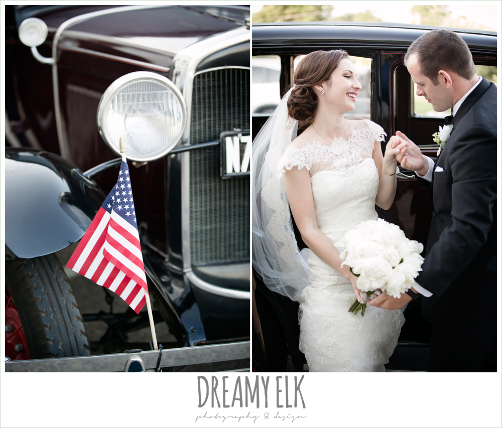 white peony wedding bouquet, groom, classic tuxedo, white boutonniere, bride, lace wedding dress with lace sleeves, lace trimmed veil, bride and groom riding in a model t antique car, one eleven east, silver sequin wedding, fourth of july wedding photo {dreamy elk photography and design}