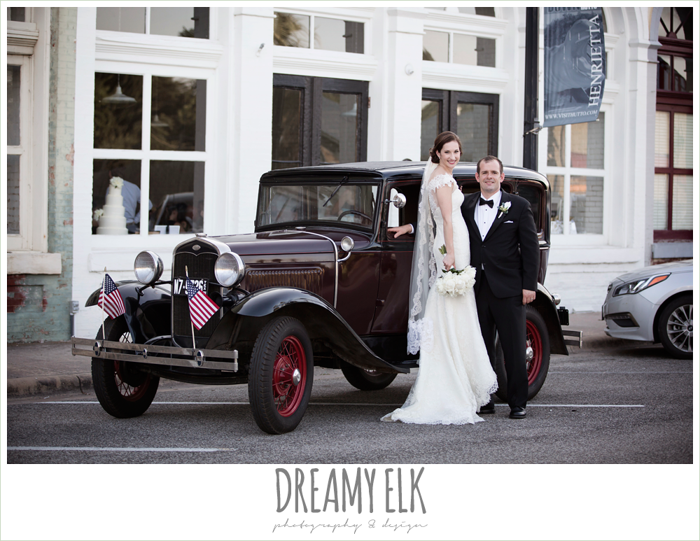white peony wedding bouquet, groom, classic tuxedo, white boutonniere, bride, lace wedding dress with lace sleeves, lace trimmed veil, bride and groom portrait, model t antique car, one eleven east, silver sequin wedding, fourth of july wedding photo {dreamy elk photography and design}