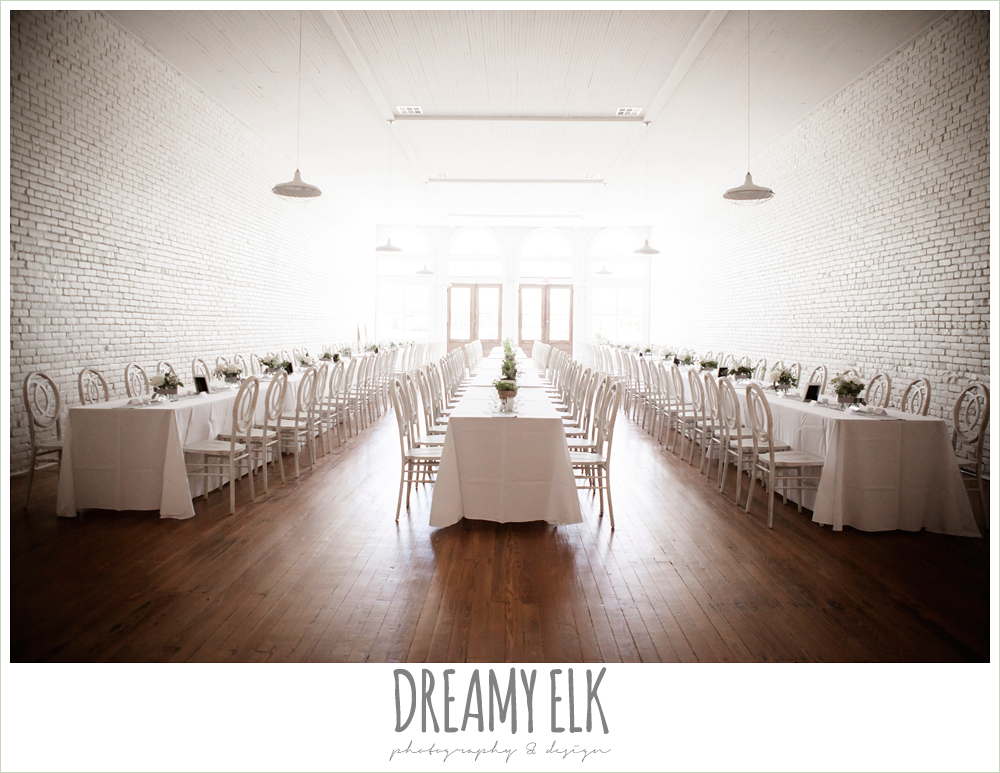 long white tables, indoor wedding reception, one eleven east, silver sequin wedding, fourth of july wedding photo {dreamy elk photography and design}