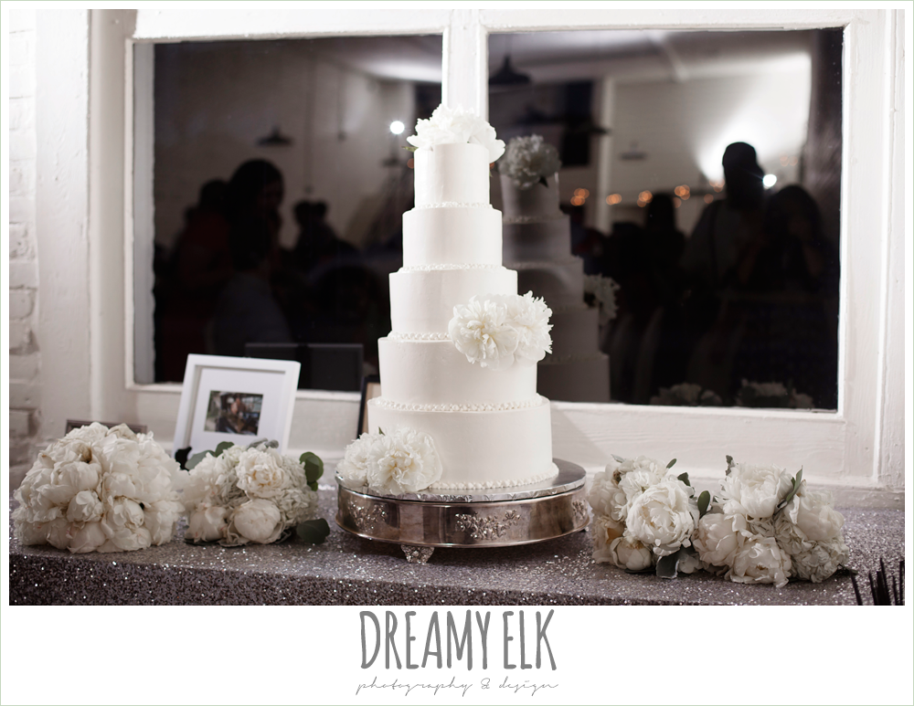 erin's custom cakes, five tier white wedding cake, indoor wedding reception, one eleven east, silver sequin wedding, fourth of july wedding photo {dreamy elk photography and design}