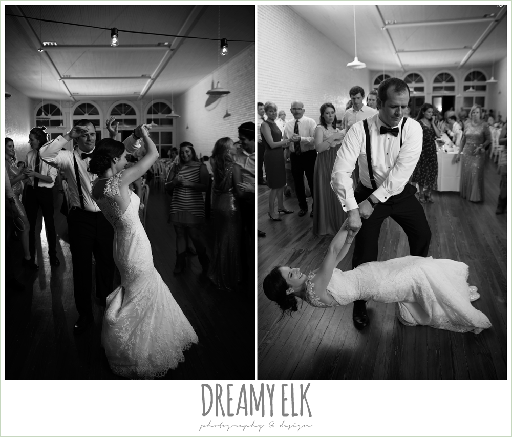 bride and groom dancing at wedding reception, indoor wedding reception, one eleven east, silver sequin wedding, fourth of july wedding photo {dreamy elk photography and design}