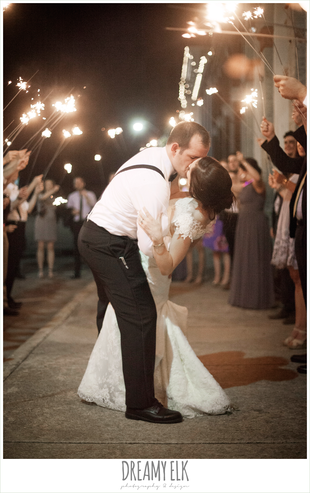 bride and groom send off with sparklers, indoor wedding reception, one eleven east, silver sequin wedding, fourth of july wedding photo {dreamy elk photography and design}