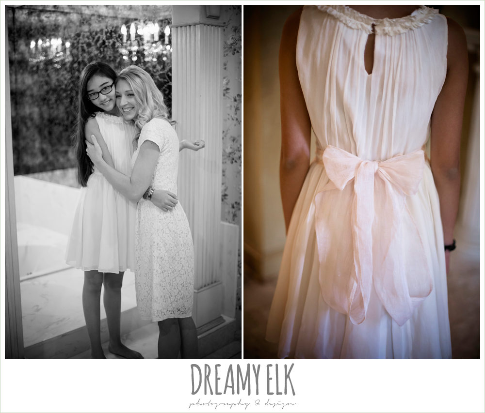 jcrew girls dresses, bride and daughter hugging, july summer morning wedding, ashelynn manor, magnolia, texas {dreamy elk photography and design}