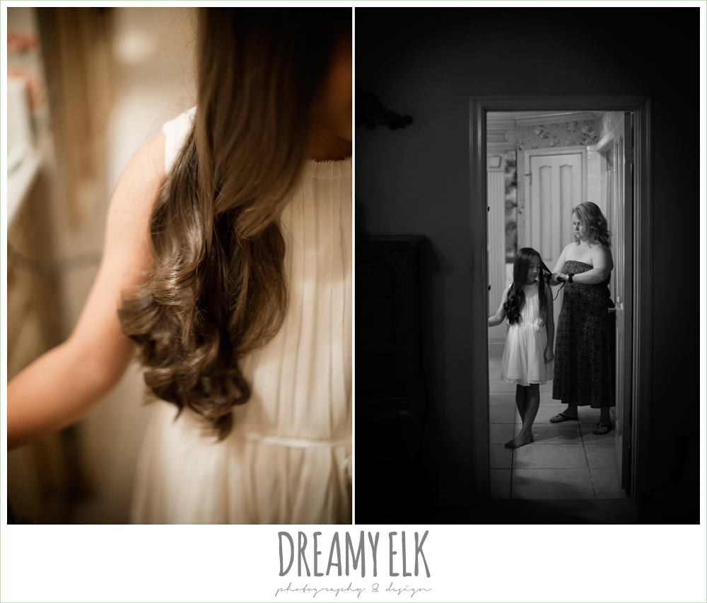 bridesmaid getting hair curled, july summer morning wedding, ashelynn manor, magnolia, texas {dreamy elk photography and design}