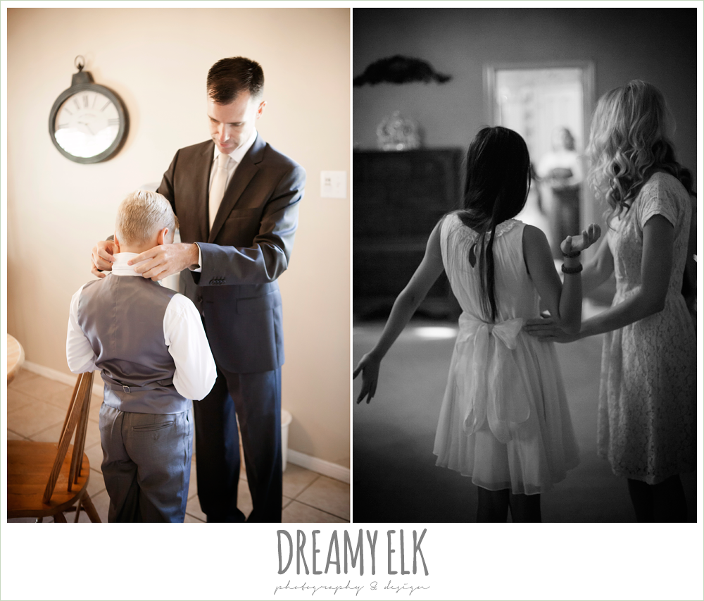 hugo boss groom's suit, groom helping son get dressed, bride helping daughter get dressed, july summer morning wedding, ashelynn manor, magnolia, texas {dreamy elk photography and design}