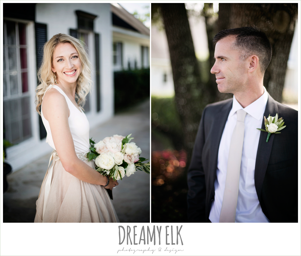 outdoor bridal photo, bride, groom, hugo boss groom's suit, southern protocol bridal boutique, carol hannah kensington halter and blush skirt, july summer morning wedding, ashelynn manor, magnolia, texas {dreamy elk photography and design}
