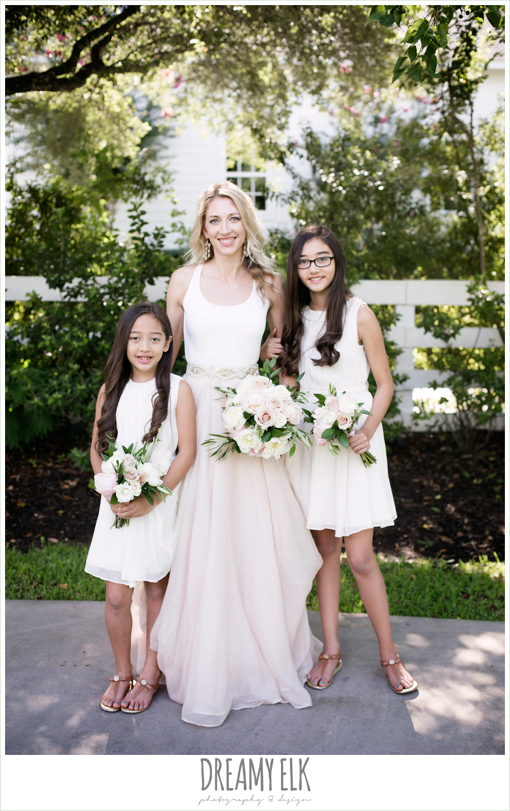 outdoor bridal party photo, bride and bridesmaids, jcrew girls dresses, southern protocol bridal boutique, haute bride belt, carol hannah kensington halter and blush skirt, july summer morning wedding, ashelynn manor, magnolia, texas {dreamy elk photography and design}