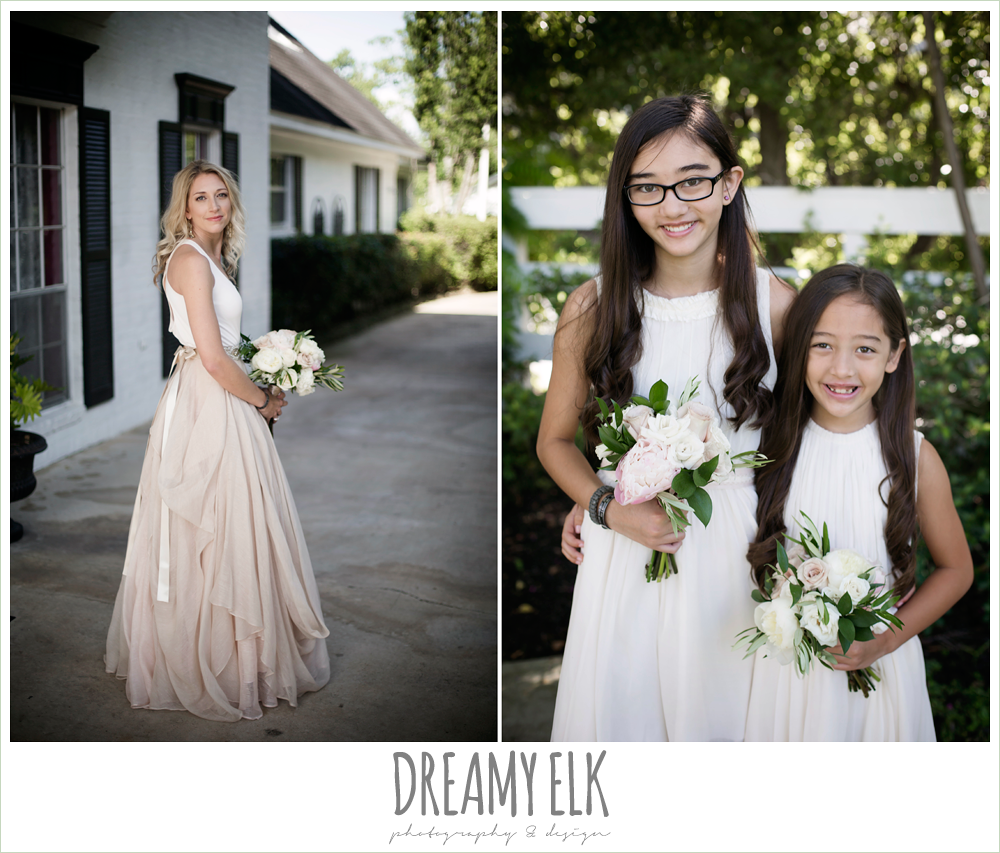outdoor bridal photo, bride, bridesmaids, jcrew girls dresses, southern protocol bridal boutique, carol hannah kensington halter and blush skirt, july summer morning wedding, ashelynn manor, magnolia, texas {dreamy elk photography and design}