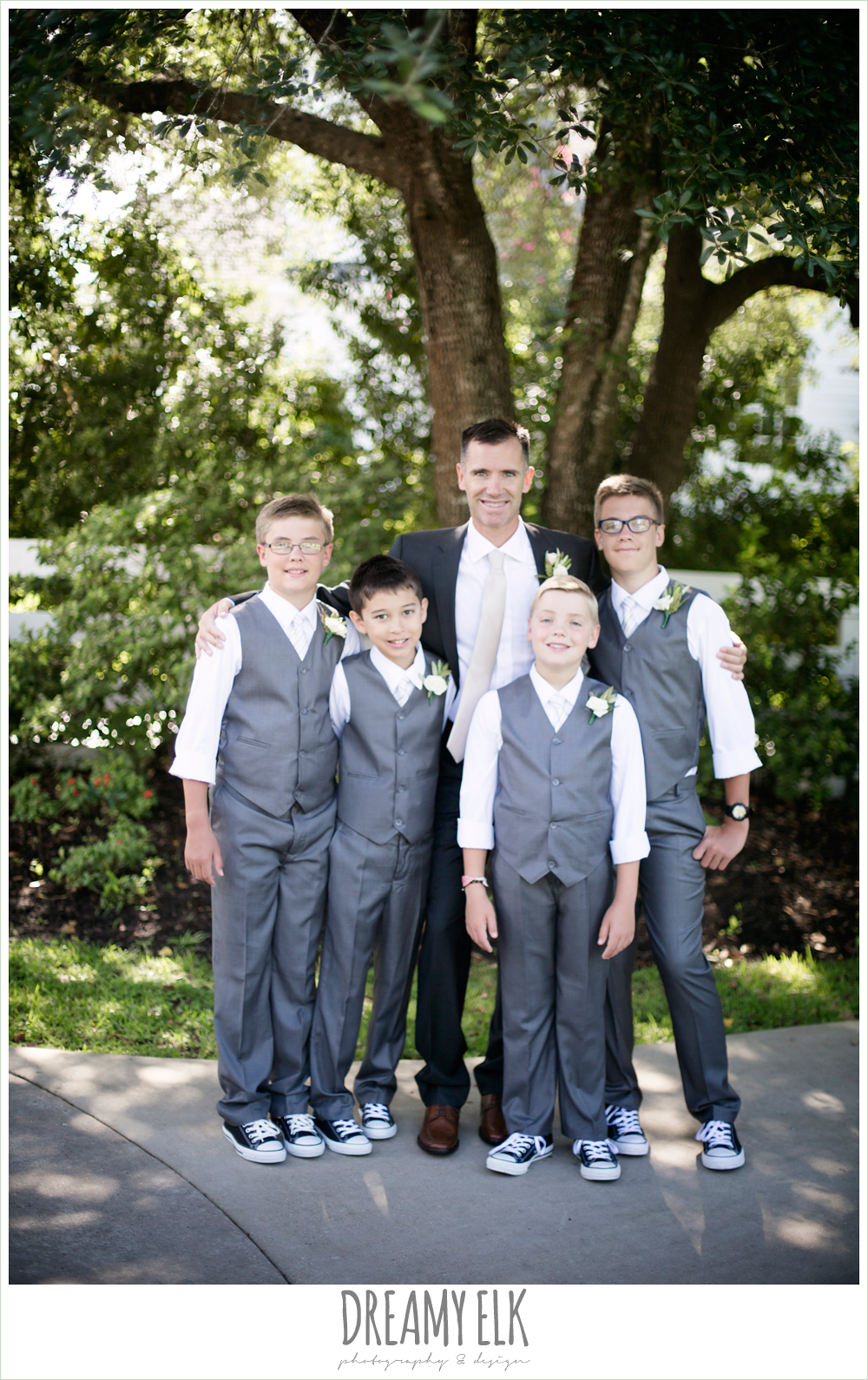 outdoor bridal party photo, groom and groomsmen, hugo boss groom's suit, jcrew boys suits, july summer morning wedding, ashelynn manor, magnolia, texas {dreamy elk photography and design}