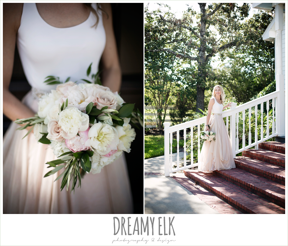 outdoor bridal photo, bride, southern protocol bridal boutique, carol hannah kensington halter and blush skirt, july summer morning wedding, ashelynn manor, magnolia, texas {dreamy elk photography and design}