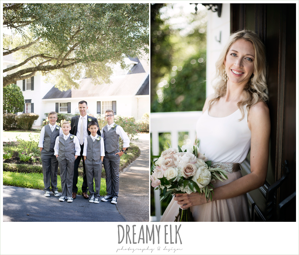 outdoor bridal party photo, groom and groomsmen, bride, hugo boss groom's suit, jcrew boys suits, carol hannah kensington halter and blush skirt, july summer morning wedding, ashelynn manor, magnolia, texas {dreamy elk photography and design}