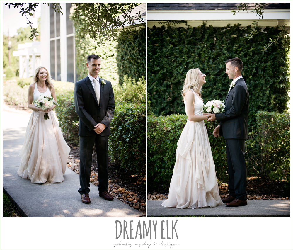 first look with bride and groom, hugo boss groom's suit, southern protocol bridal boutique, carol hannah kensington halter and blush skirt, july summer morning wedding, ashelynn manor, magnolia, texas {dreamy elk photography and design} photo