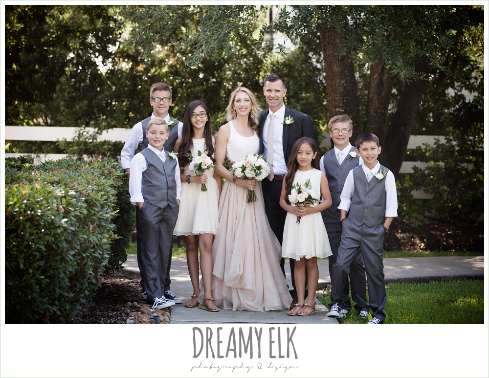 outdoor bride and groom photo, bride and groom with kids, jcrew girls dresses and boys suits, carol hannah kensington halter and blush skirt, july summer morning wedding, ashelynn manor, magnolia, texas {dreamy elk photography and design}