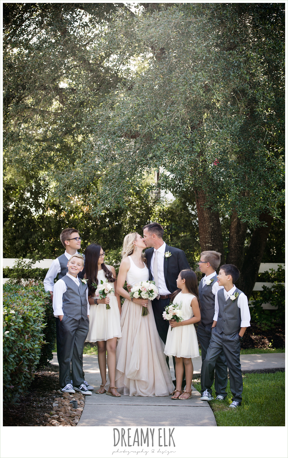 outdoor bride and groom photo, jcrew girls dresses and boys suits, carol hannah kensington halter and blush skirt, july summer morning wedding, ashelynn manor, magnolia, texas {dreamy elk photography and design} photo