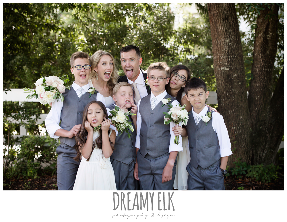 funny outdoor bridal party photo, jcrew girls dresses and boys suits, july summer morning wedding, ashelynn manor, magnolia, texas {dreamy elk photography and design} photo