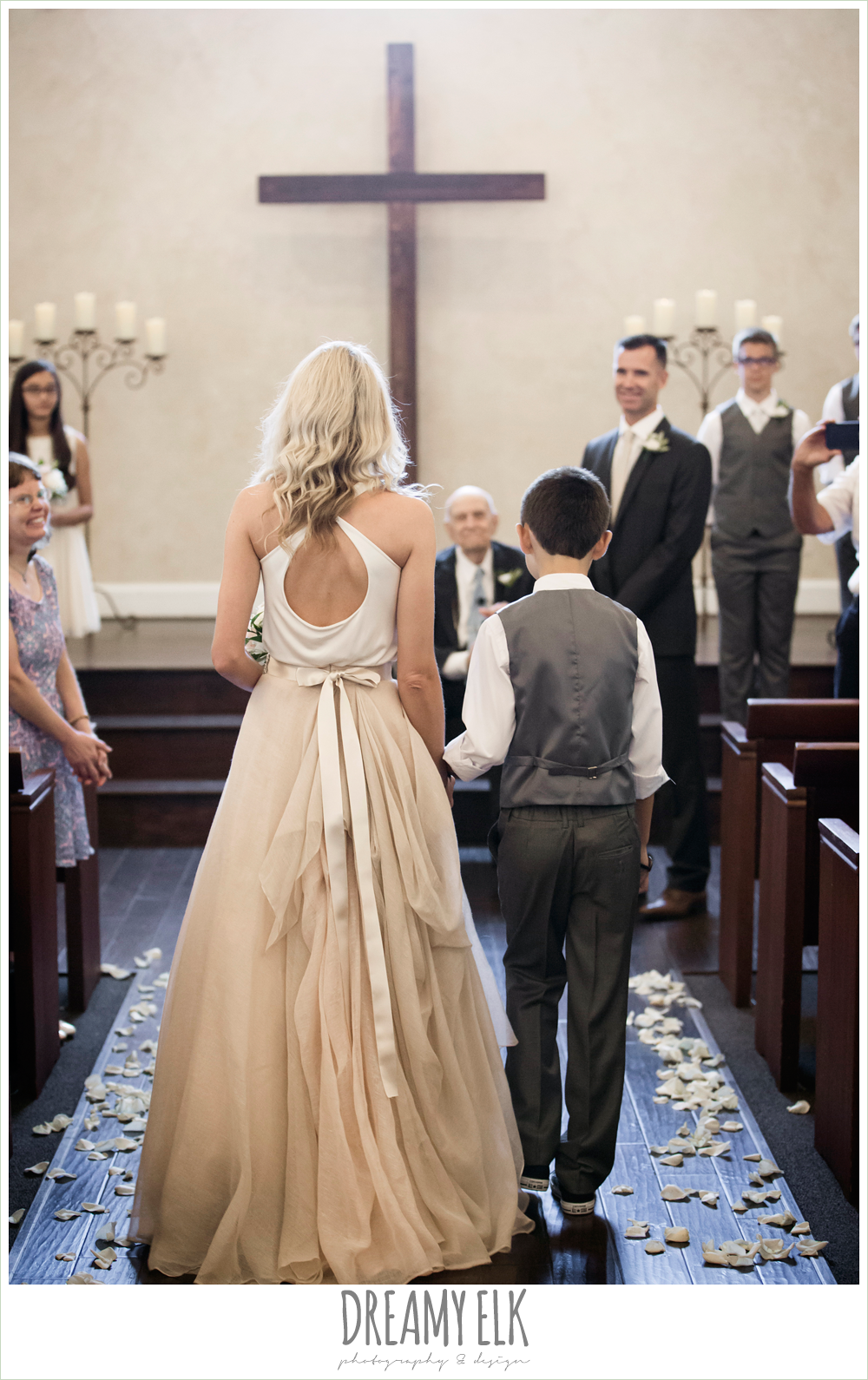 wedding ceremony, bride and son walking down the aisle, carol hannah kensington halter and blush skirt, july summer morning wedding, ashelynn manor, magnolia, texas {dreamy elk photography and design} photo