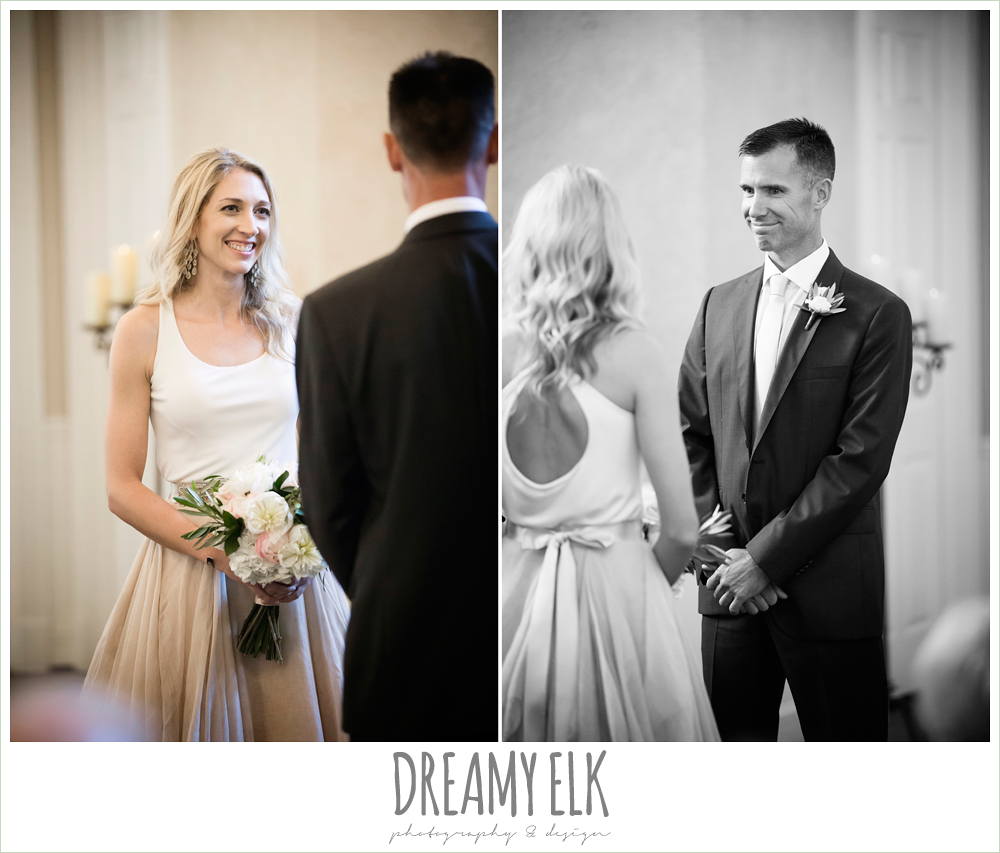 bride and groom during wedding ceremony, carol hannah kensington halter and blush skirt, july summer morning wedding, ashelynn manor, magnolia, texas {dreamy elk photography and design} photo
