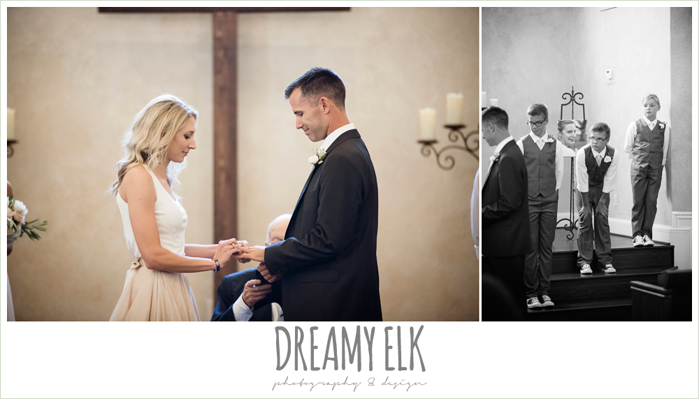 exchanging rings, bride and groom during wedding ceremony, carol hannah kensington halter and blush skirt, july summer morning wedding, ashelynn manor, magnolia, texas {dreamy elk photography and design} photo