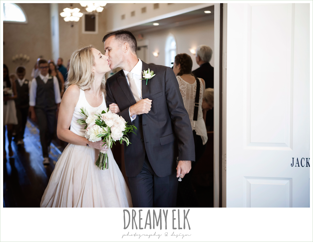 bride and groom kissing, carol hannah kensington halter and blush skirt, july summer morning wedding, ashelynn manor, magnolia, texas {dreamy elk photography and design} photo