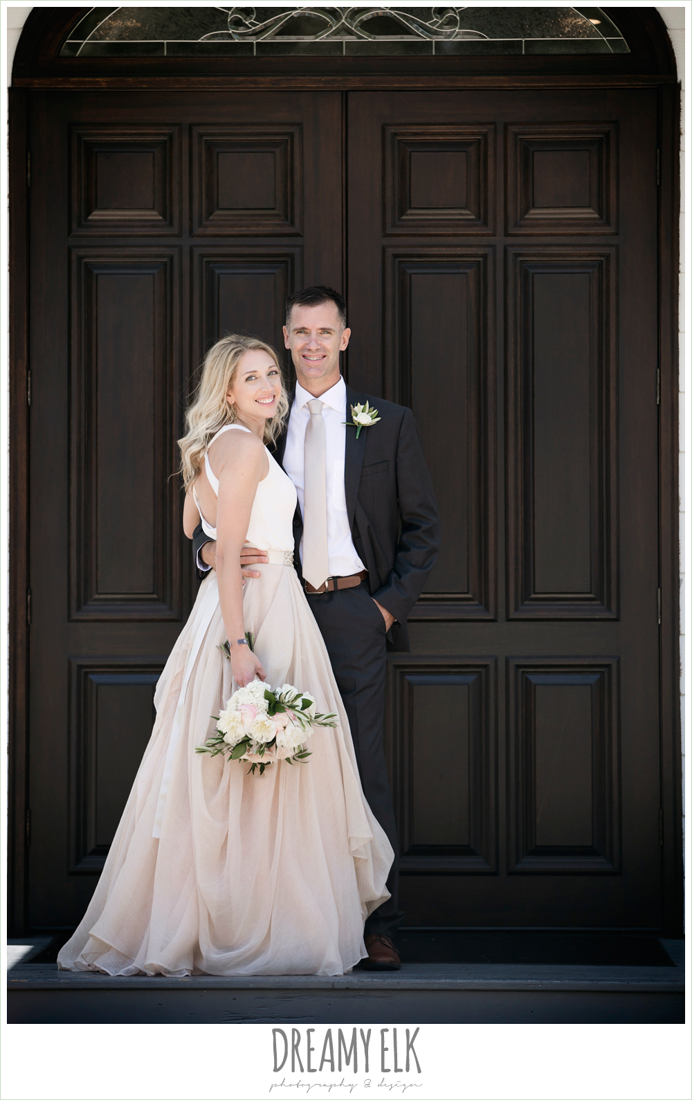 outdoor bride and groom photo, hugo boss groom's suit, southern protocol bridal boutique, carol hannah kensington halter and blush skirt, july summer morning wedding, ashelynn manor, magnolia, texas {dreamy elk photography and design}