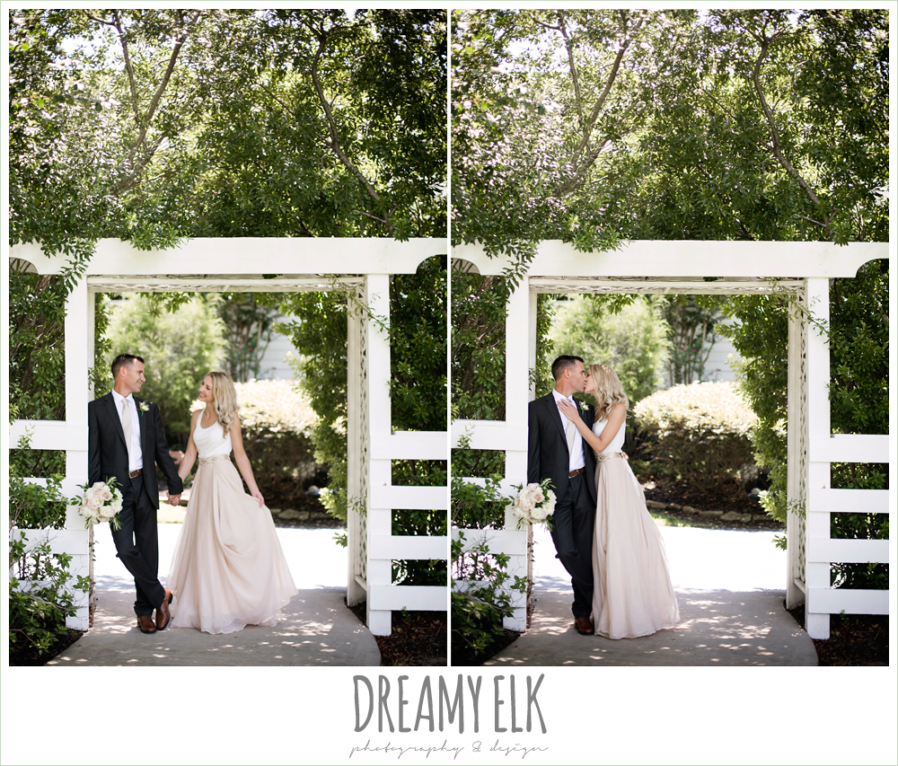 outdoor bride and groom photo, carol hannah kensington halter and blush skirt,