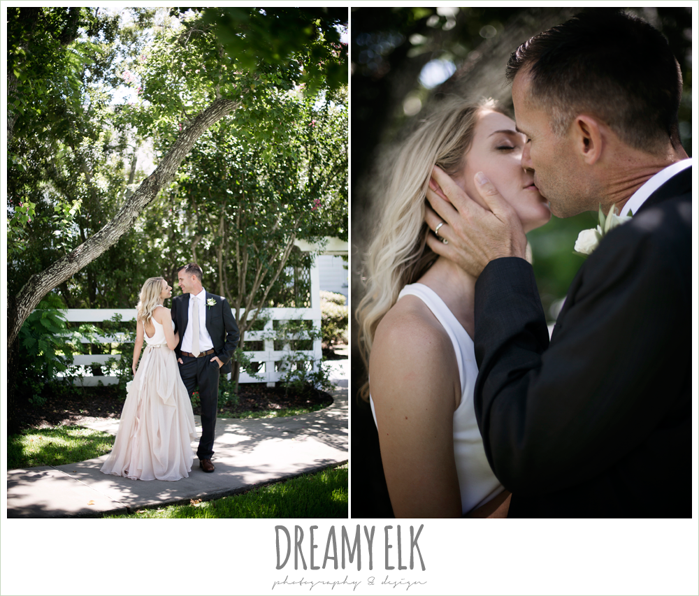outdoor bride and groom photo, hugo boss groom's suit, carol hannah kensington halter and blush skirt,