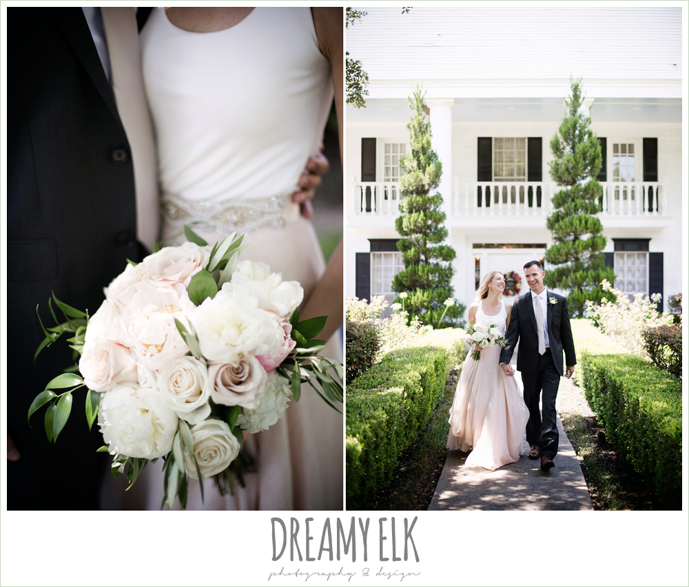 outdoor bride and groom photo, carol hannah kensington halter and blush skirt, july summer morning wedding, ashelynn manor, magnolia, texas {dreamy elk photography and design}