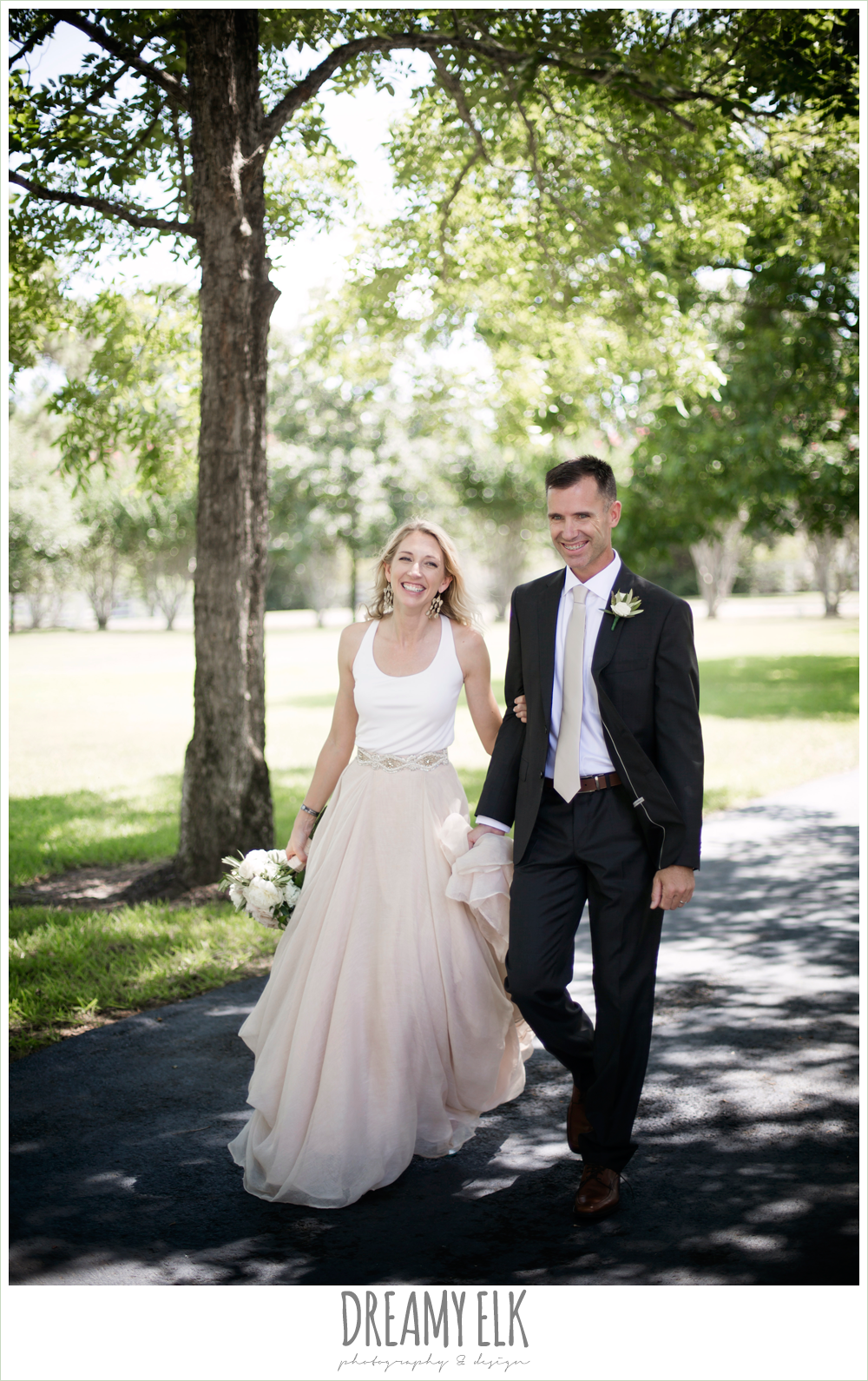 outdoor bride and groom photo, hugo boss groom's suit, southern protocol bridal boutique, haute bride belt, carol hannah kensington halter and blush skirt, july summer morning wedding, ashelynn manor, magnolia, texas {dreamy elk photography and design}
