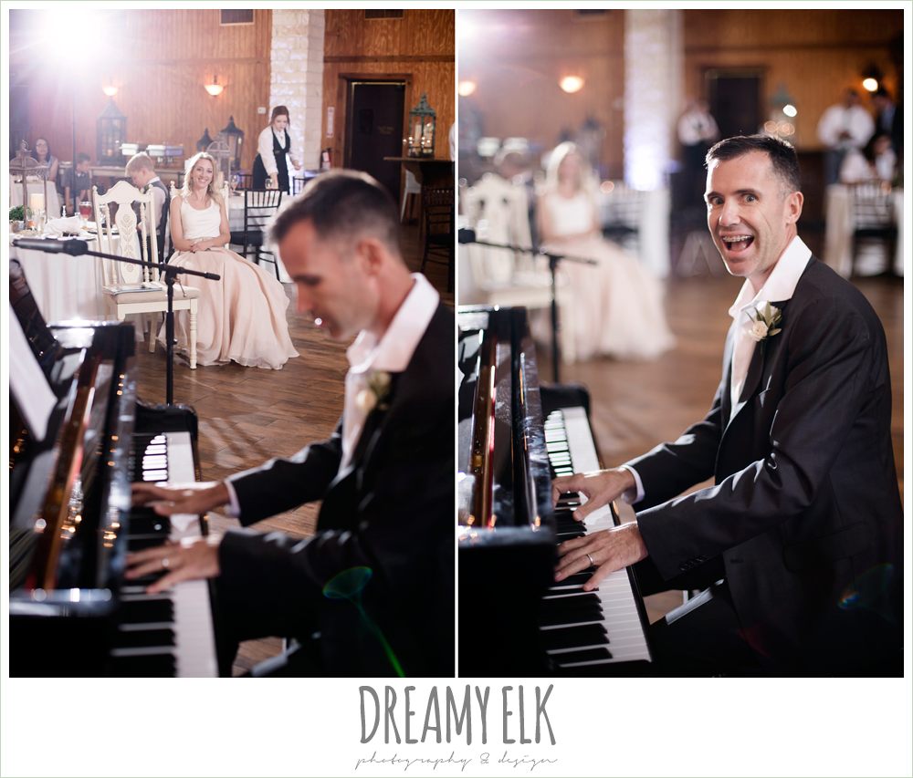 houston piano company, groom playing piano at wedding reception, july summer morning wedding, ashelynn manor, magnolia, texas {dreamy elk photography and design} photo