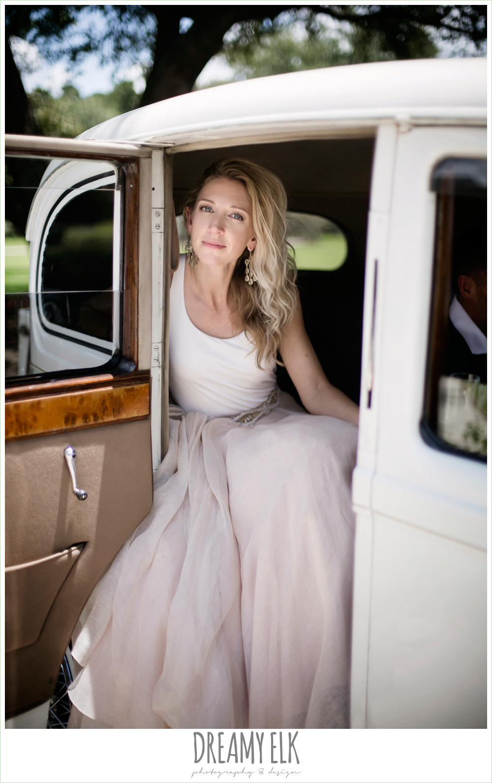 Monarch British Limousines, southern protocol bridal boutique, haute bride belt, carol hannah kensington halter and blush skirt, bride in rolls royce wedding getaway car, july summer morning wedding, ashelynn manor, magnolia, texas {dreamy elk photography and design} photo